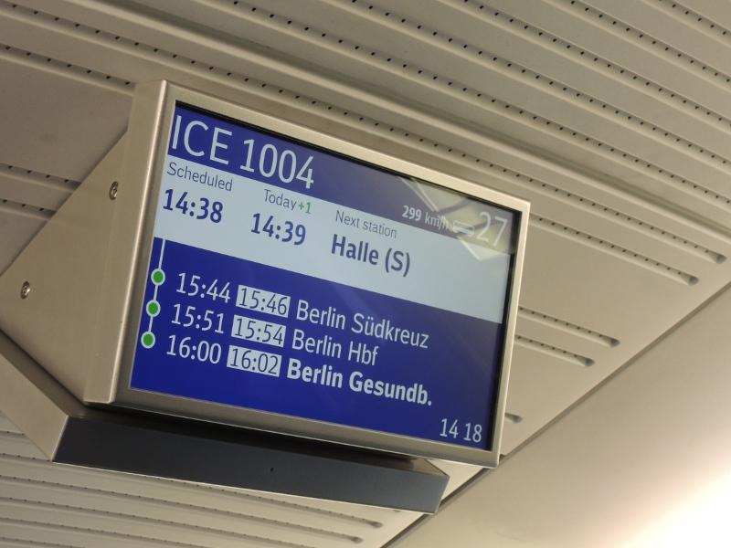 Geschwindigkeitsanzeige im Sprinter München–Berlin