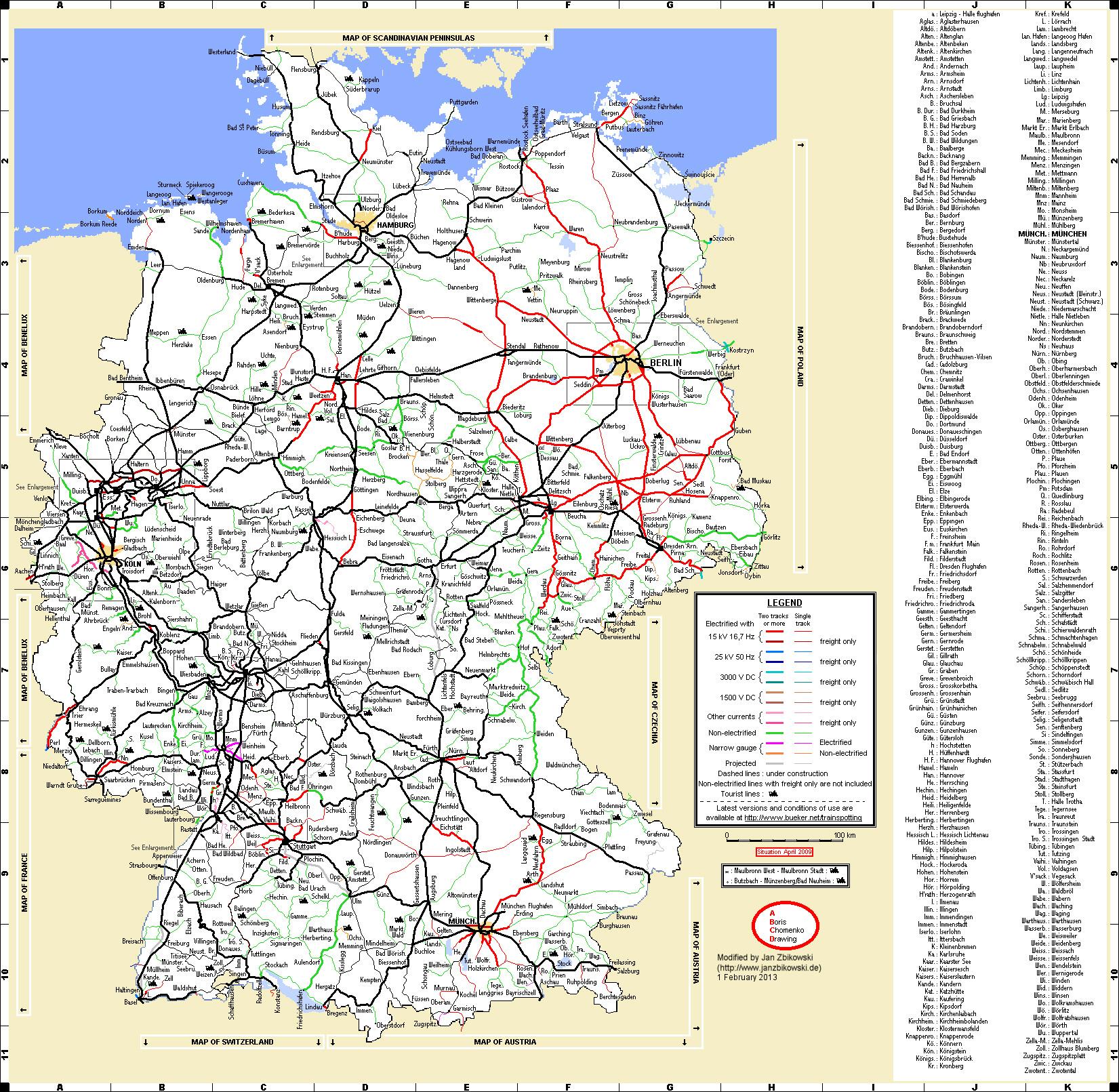 Von mir bis 2017 befahrene Strecken in Deutschland