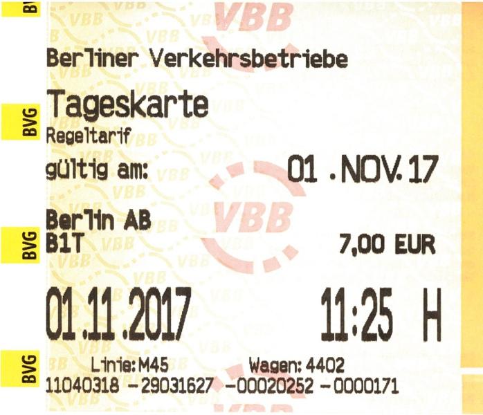 Im Bus gekaufte BVG-Tageskarte