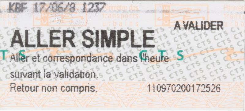 Fahrkarte für die Straßburger Verkehrsbetriebe CTS
