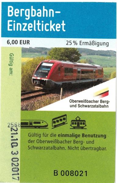 Einzelticket der Oberweißbacher Bergbahn