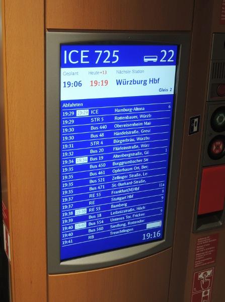 Ausführlicher Anschlussmonitor im redesignten ICE 3