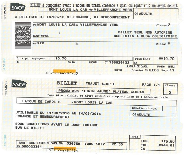 Fahrkarte für den Train jaune
