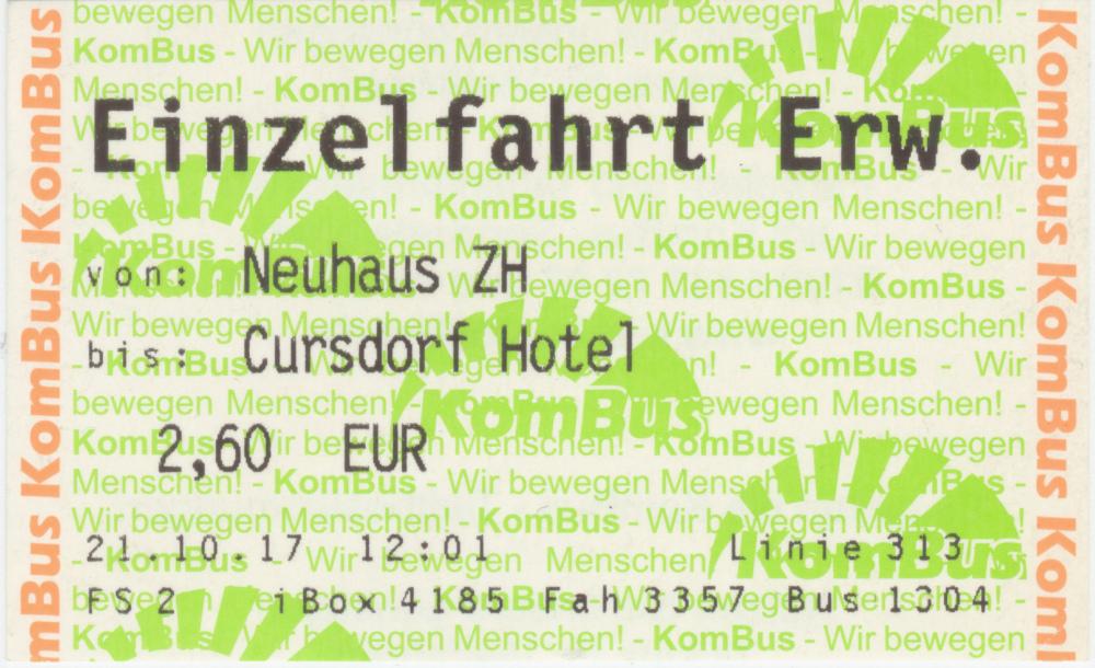 Fahrkarte von KomBus