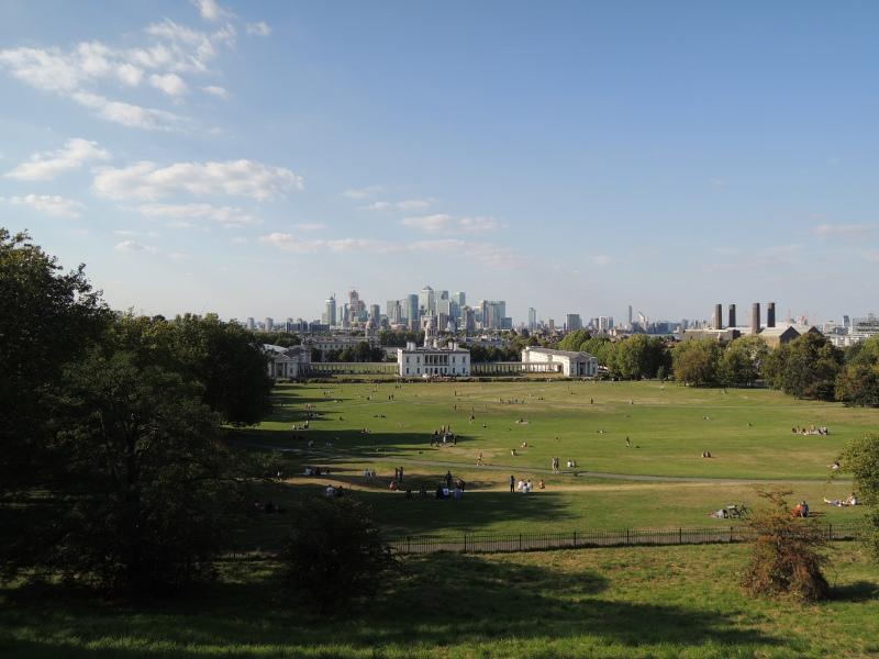 Blick von Greenwich auf Canary Wharf