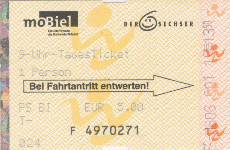 Fahrkarte zum Westfalentarif auf Sechser-Vordruck