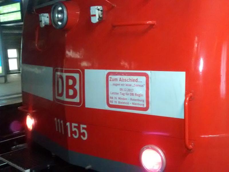 Hinweis auf die letzte Fahrt von DB Regio zwischen Bielefeld und Nienburg