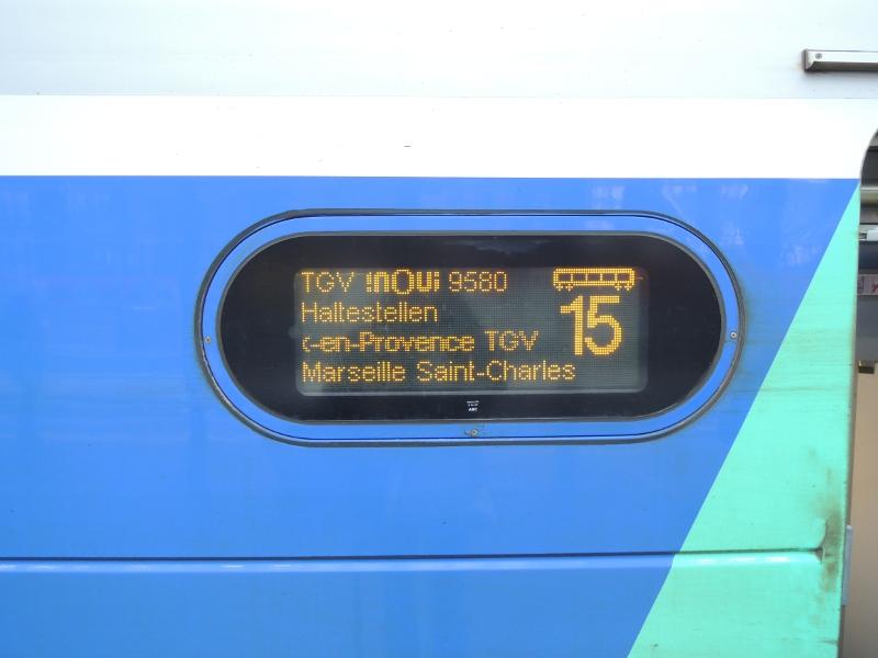 Zuglaufanzeige an einem TGV Duplex