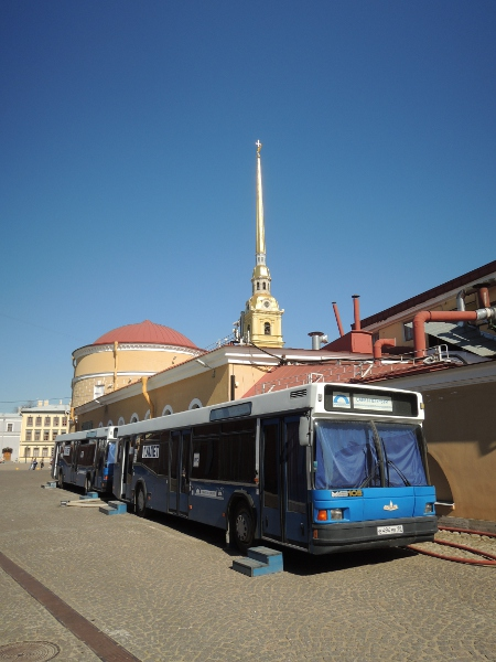 Toilettenbusse, im Hintergrund die St.-Peter-und-Pauls-Kathedrale