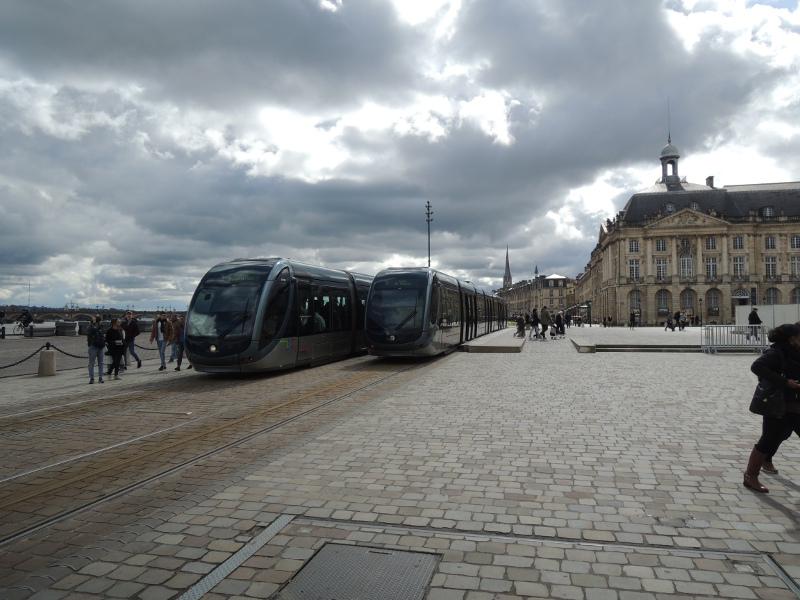 Straßenbahnhaltestelle Place de la Bourse in Bordeaux