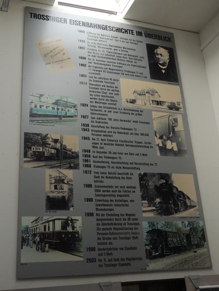 Tafel zur Geschichte der Trossinger Eisenbahn
