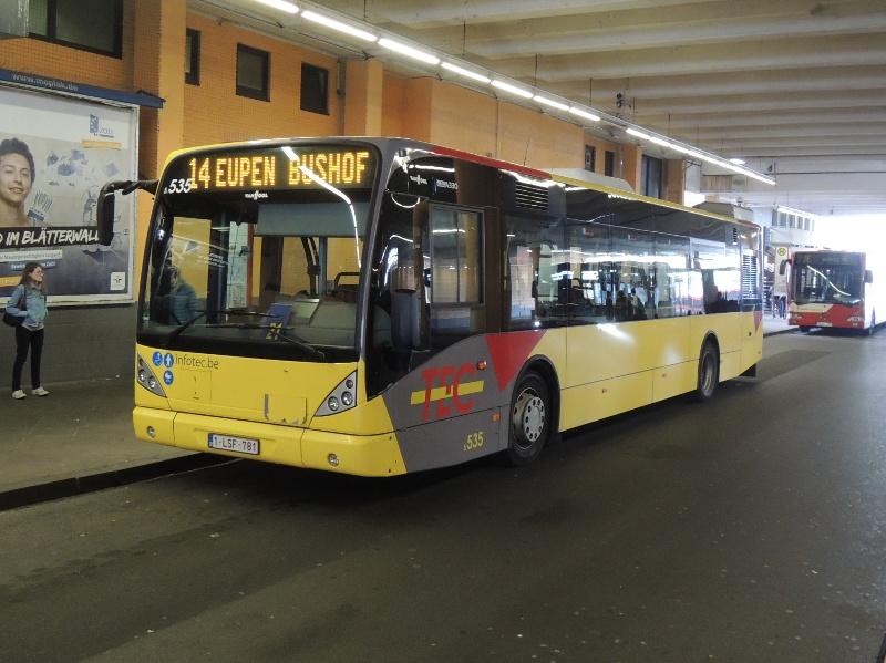 Bus der wallonischen TEC in Aachen Bushof
