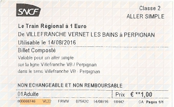 Fahrkarte für den Train à 1 Euro