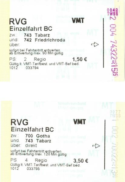 Fahrkarten der TWSB